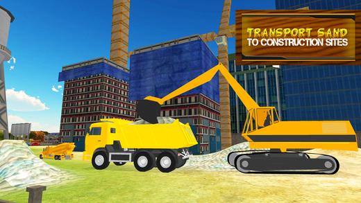 砂运输车和挖掘机模拟器