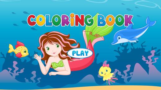 美人鱼着色书 - 可爱的漫画艺术的想法为孩子