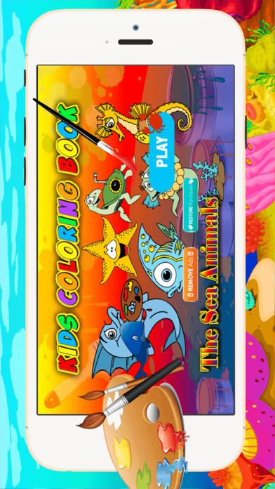 海洋动物着色 - 都在1可爱的动物画书,涂料和彩页游戏的孩子