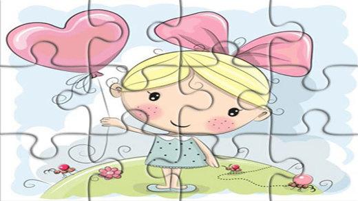 七彩卡通拼图容易为孩子