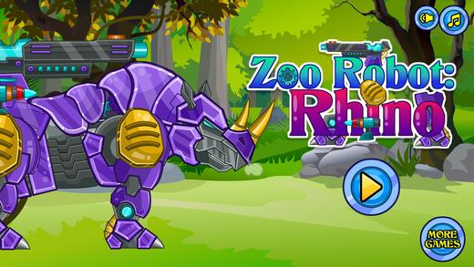 组装/拼装机器犀牛 : 机器动物园系列 - 双人益智拼图小游戏