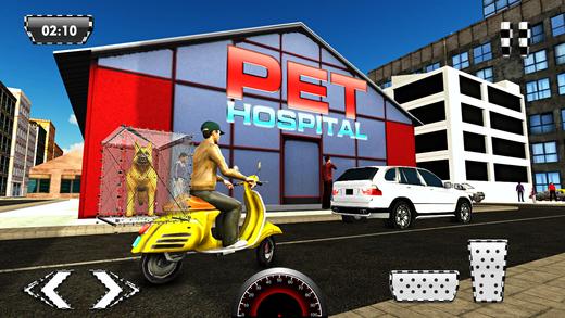 宠物动物运输车自行车和送货男孩模拟