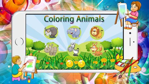教育着色书(动物)游戏的孩子