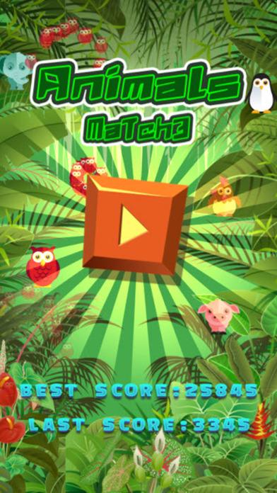 有趣的动物Match3益智游戏的孩子们。