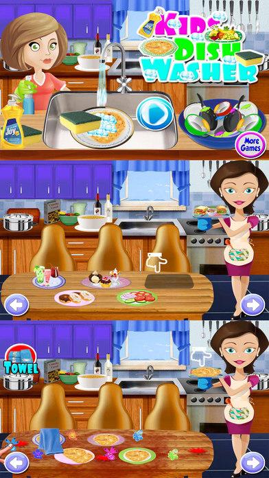 孩子们盘洗  清洗-游戏 — 免费的厨房