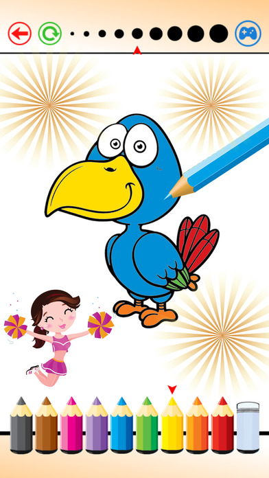鸟 绘画 - 填色本 和 画画 对于 孩子们