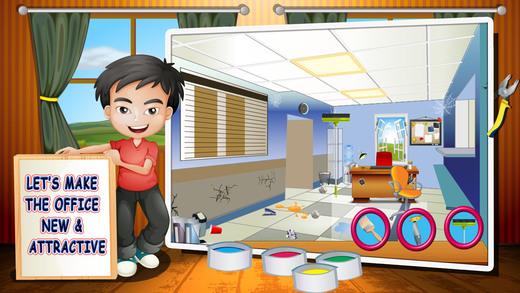 办公室维修 - 孩子们的清理和打砖块老板游戏