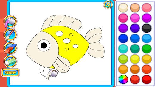 五彩画板拼图填颜色- 幼儿画画启蒙,认动物游戏