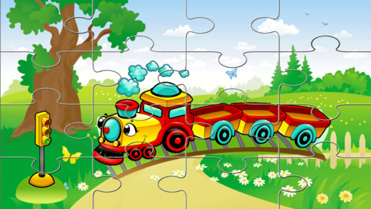 卡车和火车车拼图的孩子和蹒跚学步