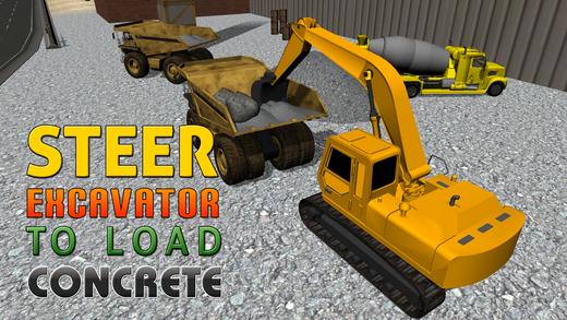 混凝土挖掘机模拟器 - 操作起重机和传动卡车在这个模拟游戏