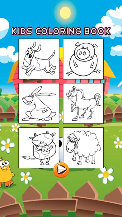 动物农场着色书 - 绘图页面和绘画学习技能比赛为儿童幼儿