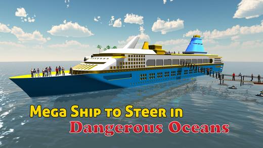 游轮模拟器3D - 海上航行的大型船来接和从岛落客