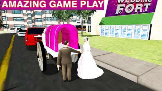 婚礼马车和城市驾驶的新娘