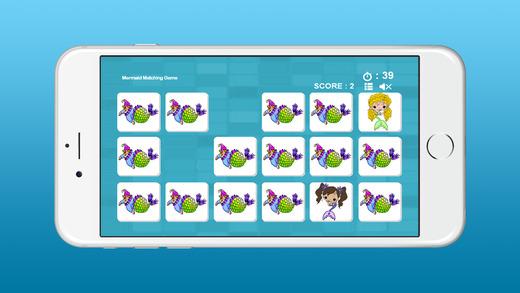美人魚的圖片匹配遊戲為孩子們