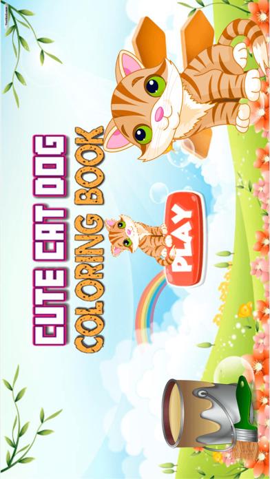 可爱的猫狗着色书 - 所有在1动物画,涂料和颜料游戏高清对于好孩子