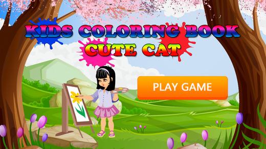 免费儿童图画书 - 素描可爱的猫学习趣味
