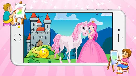 玩着色书(公主)免费不同游戏的孩子