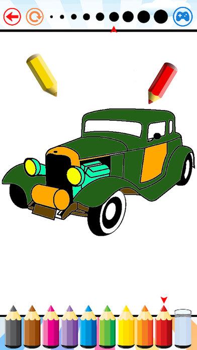 汽車 填色本 - 車輛 畫畫 對於 孩子們