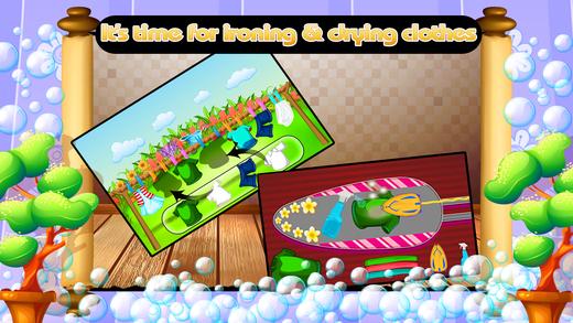 女孩洗衣店洗衣服清洁和洗涤游戏