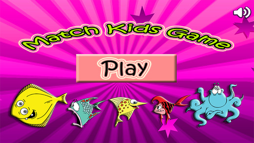 配对游戏鱼儿童。 Animal match fish