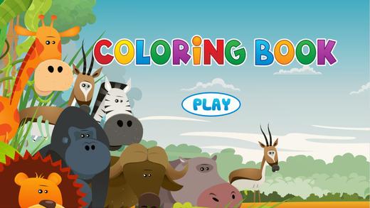 动物着色书 - 可爱的漫画艺术的想法为孩子