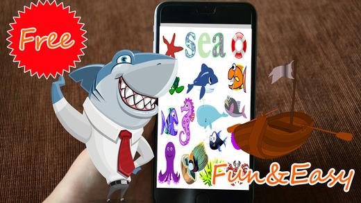 捕鯊遊戲和海洋動物為孩子們的教育遊戲