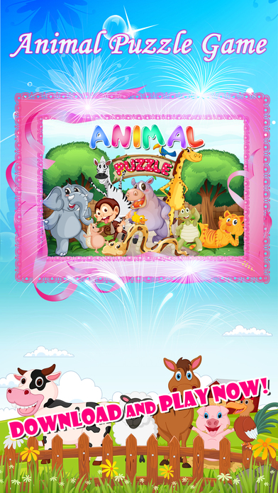 免费动物拼图农场儿童游戏的孩子
