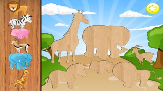 容易的动物拼图为孩子们