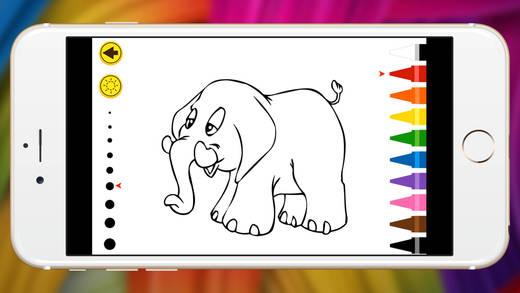 陆生动物的图画书柔和的蜡笔大象和羊驼秀