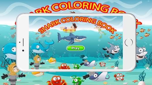 攻擊兒童小孩的鯊魚著色書