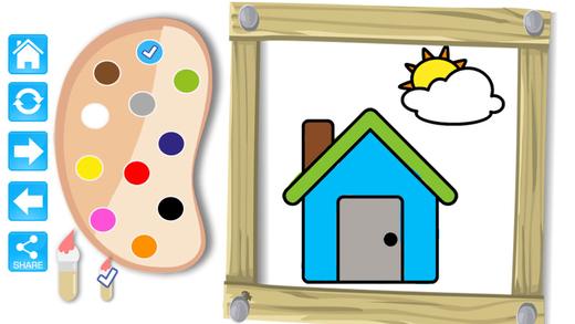 易卡通着色书游戏的孩子和学前班