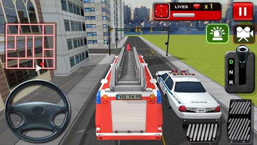 消防队员救护车救援模拟器。