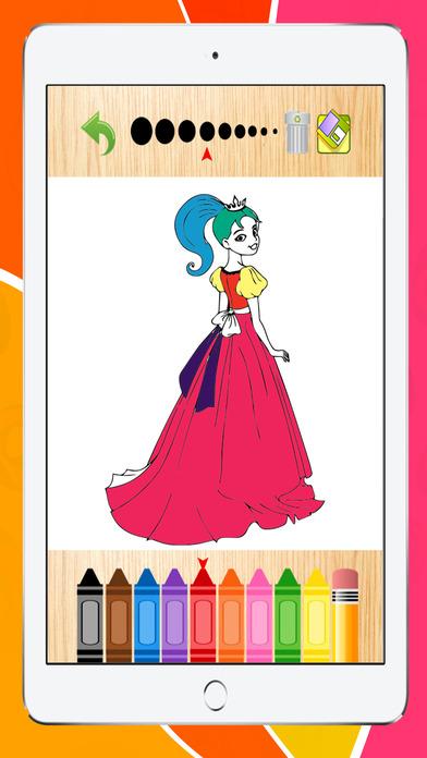 公主著色書頁遊戲,學齡前