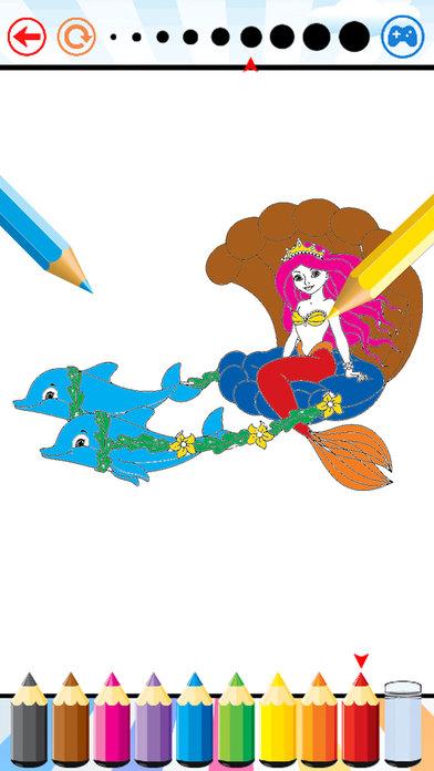 美人鱼海洋动物着色书为孩子们画