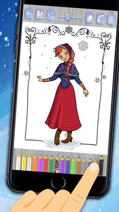 油漆幻冰公主 - 着色图纸