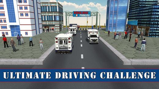 救护医院停车场 - 驱动器和公园的车辆这种极端的驾驶模拟器游戏