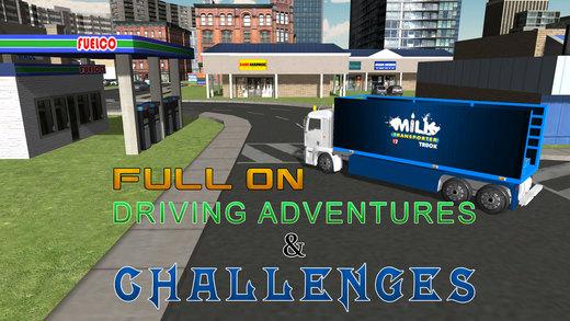 3D奶转运卡车 - 极端卡车司机驾驶和停车位模拟器游戏