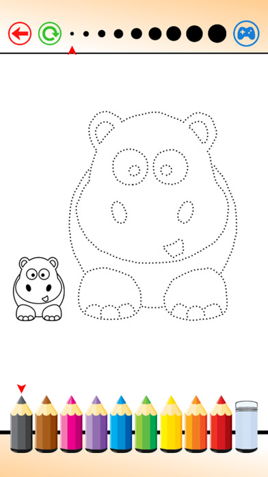 在草圖線繪製動物 和 著色為孩子