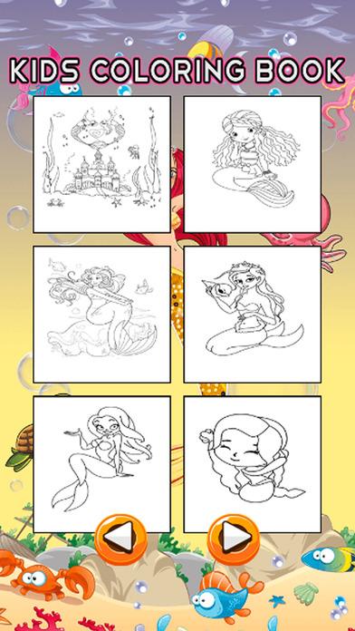 人鱼公主着色页儿童绘画比赛