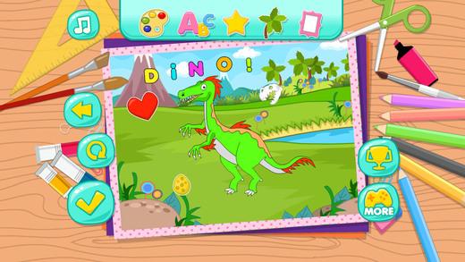 可爱恐龙的秘密花园 - 填色 涂鸦