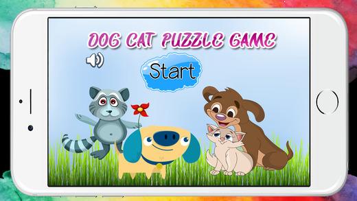 狗和猫的拼图幼儿园和孩子们免费