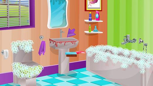 长发姑娘卫生间清洁