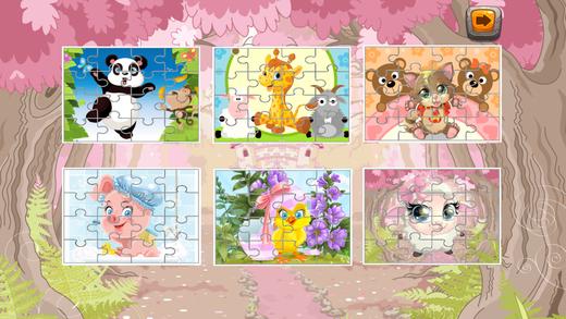 动物拼图游戏孩子们的丰富多彩