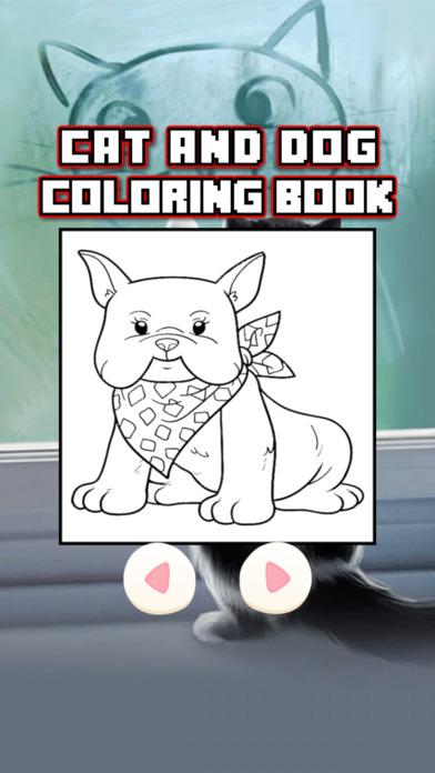 猫与狗着色页小猫绘画色彩