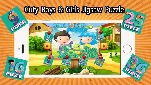 可爱的男孩和女孩拼图