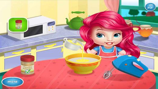 可爱宝宝做奶油蛋糕