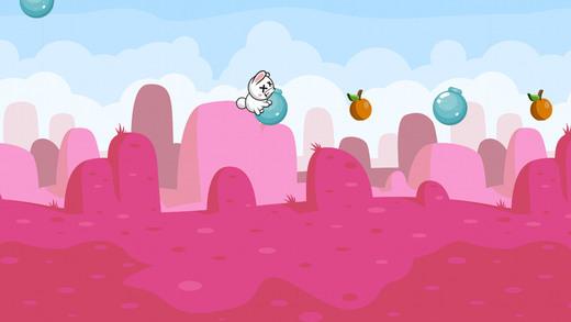 小兔子粉红色仙人掌匆忙