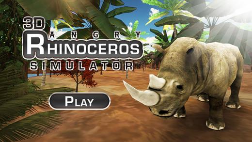 3D愤怒的犀牛模拟器 - 野生动物游戏