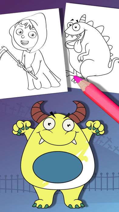 万圣节着色页 - 油漆怪兽僵尸