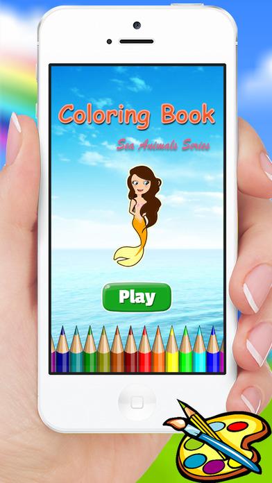 海洋动物与美人鱼着色书 - 绘图绘画儿童